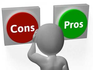 Man looking at pros and cons