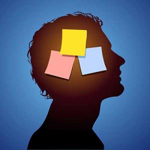 silhouette of man with post it notes on head